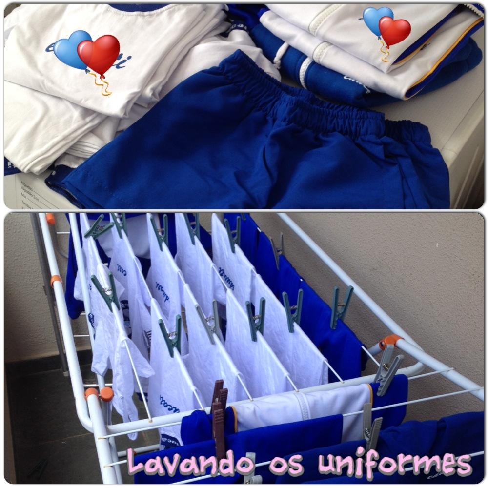 lavando o uniforme da sophia